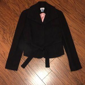 Bouclé Jacket with tie front belt